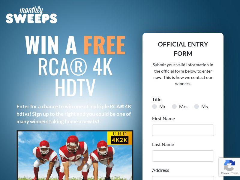 Premium Rewards USA - Monthly Sweeps - RCA 4K HDTV CPL [US]