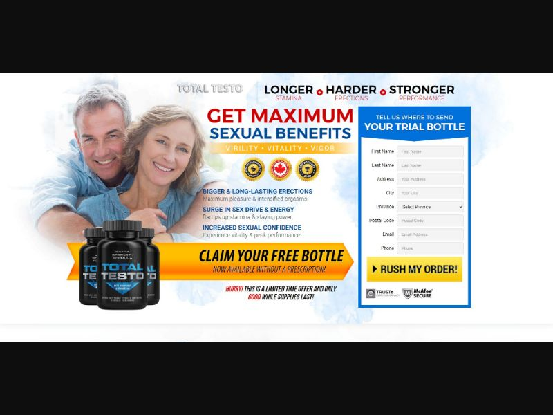 Total Testo - Male Enhancement - Trial - [CA] - with 1-Click Upsell [Step1 $31.45 / Upsell $31.45]