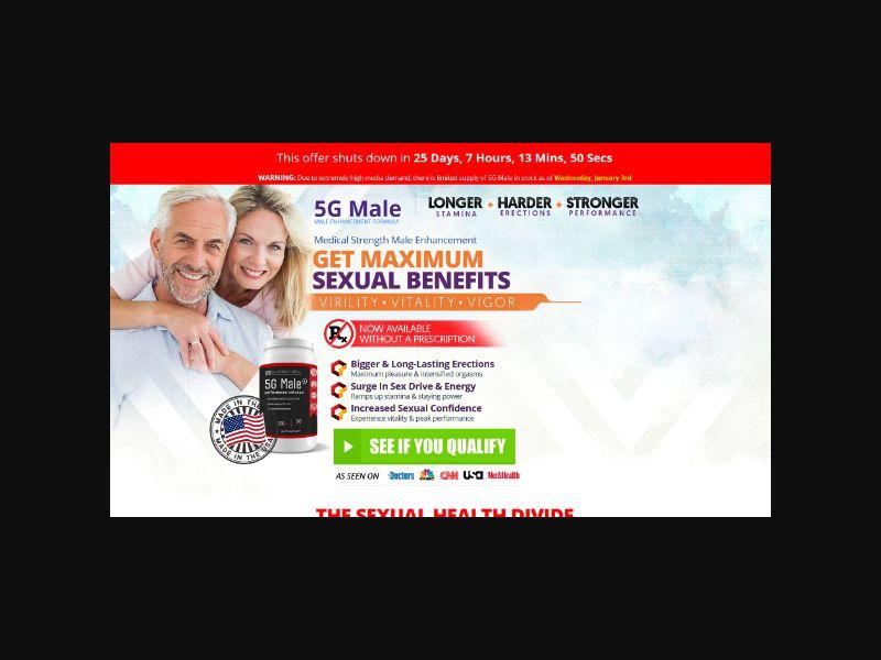 5GMale - Male Sexual Performance - $69 CTC (US,CA,FR,DE,NZ,SG,ES)