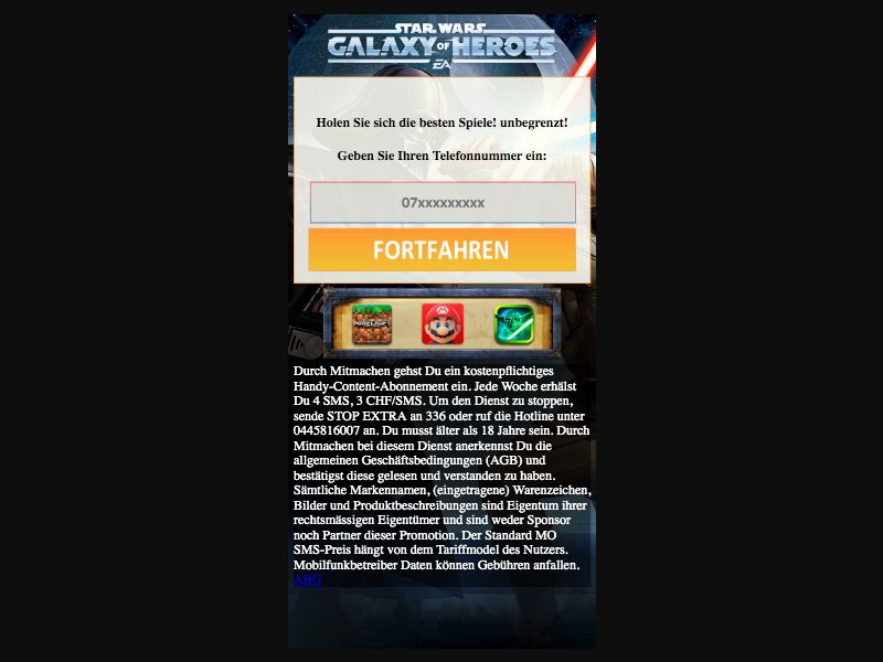 Starwars - SMS flow - CH - Online Games - Mobile
