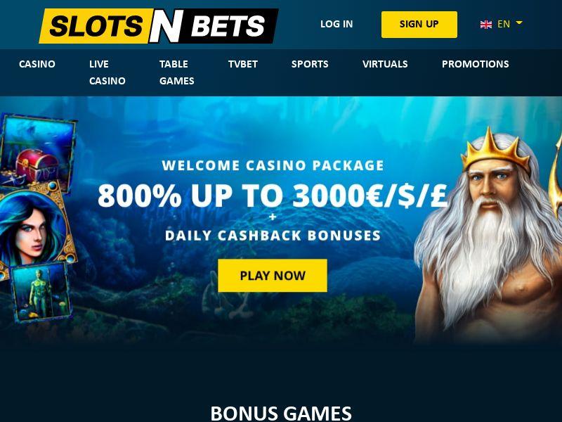 SlotsNBets.com Casino CPA - UK, DE, NL, AT, CH, FR, NO, FI, SE, CA, NZ & AU