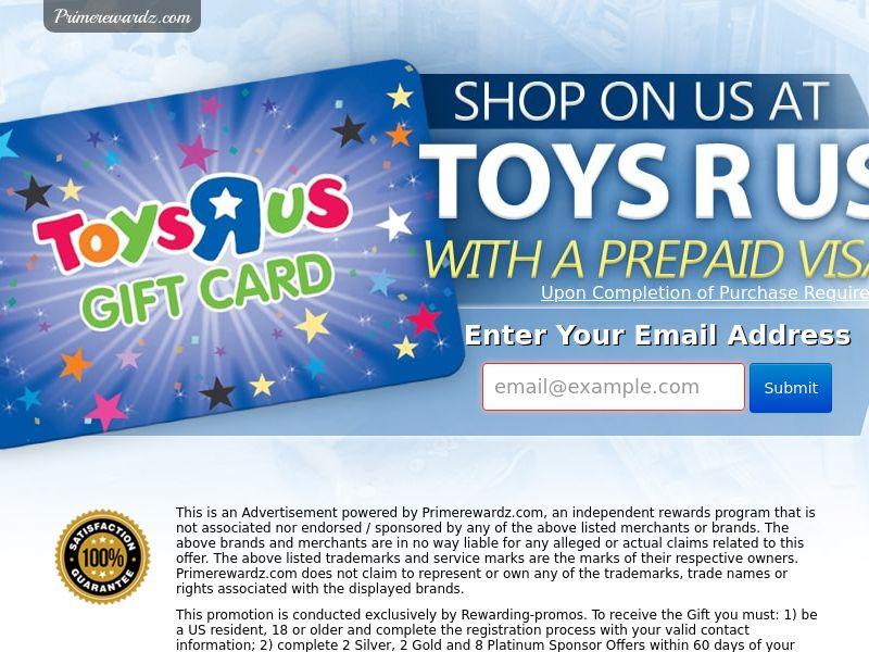 Toy's R Us Gift Card - Email Submit - Incent