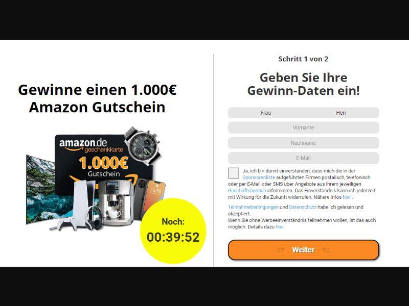 DE/CH - Amazon €1000 Voucher (DOI) [DE,CH] - DOI registration