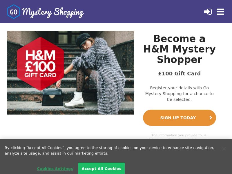 Go Mystery Shopper - Receive £100 to be a H&M Mystery Shopper CPL [UK]