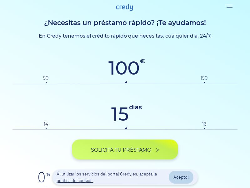 Credy - Pay Day Loans - CPL 1st page submit - [ES]