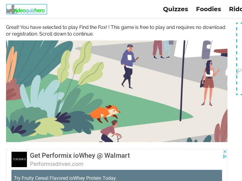 Find the Fox Quiz (mobile) - WW - Incent OK