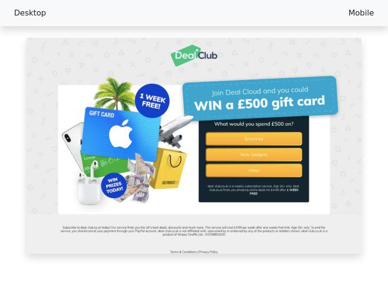 Apple 500EUR GiftCard (PayPal) - CPL SOI - UK