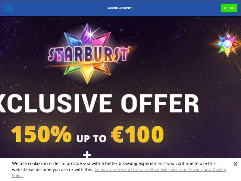 Jackie Jackpot Casino - 150% up to €100 + 50 Free Spins CPL [IE]