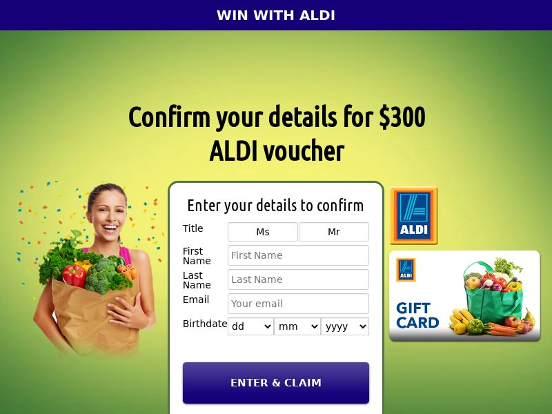 Aldi - AU (AU), [CPL], Lotteries and Contests, Single Opt-In, paypal, survey, gift, gift card, free, amazon