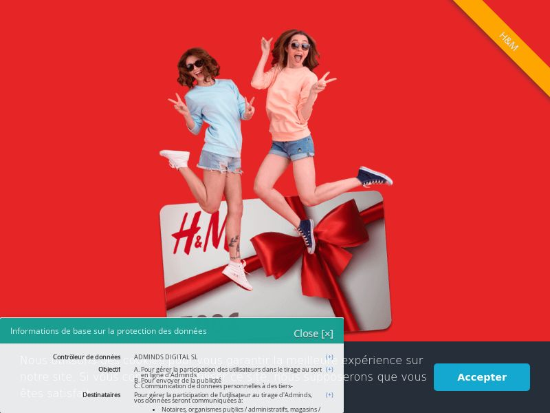 H&M Voucher - FR (FR), [CPL], Fashion, Clothes, Accessories and additions, Accessories, Jewelry, Lotteries and Contests, Single Opt-In, shop, gift, paypal, survey, gift, gift card, free, amazon