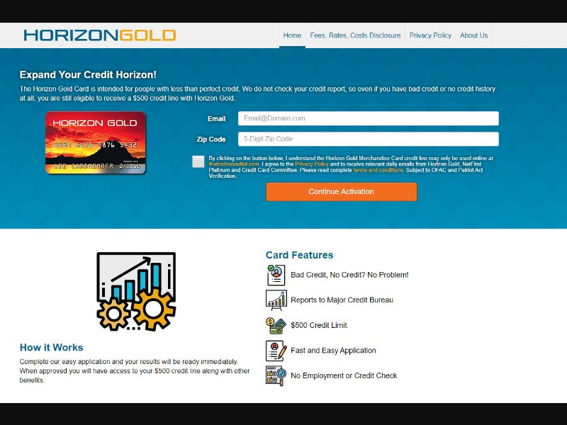 Horizon Gold Card US | Short Form CPL