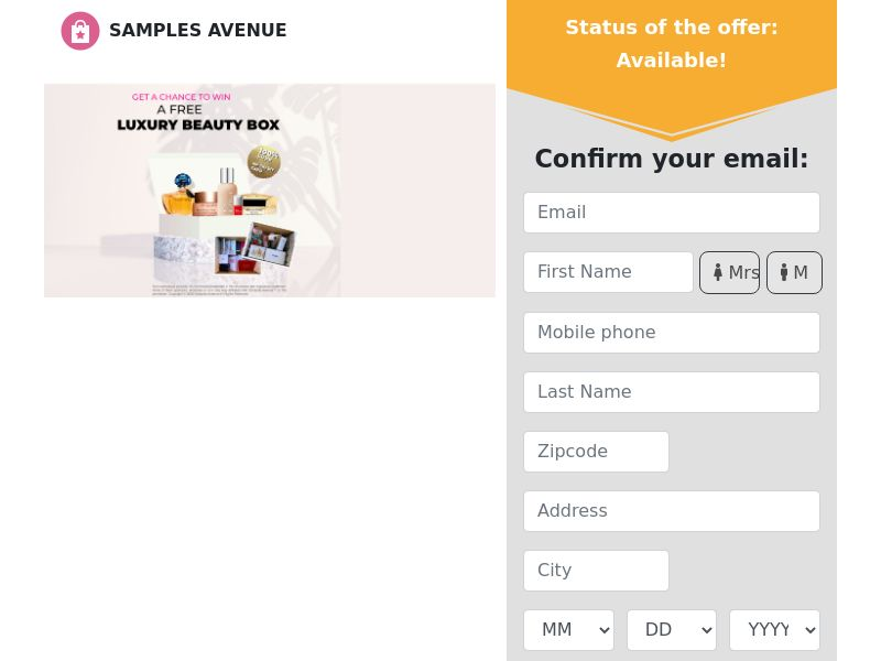 Samples Avenue - Luxury Beauty Box - CPL - US [EXCLUSIVE]