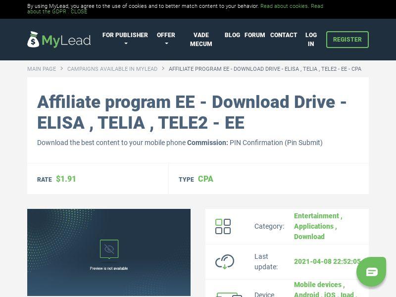 EE - Download Drive - ELISA , TELIA , TELE2 - EE (EE), [CPA]
