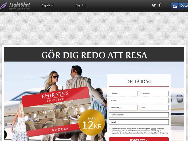 Emirates Travel Voucher (Sweepstake) (CC Trial) - Sweden [SE]