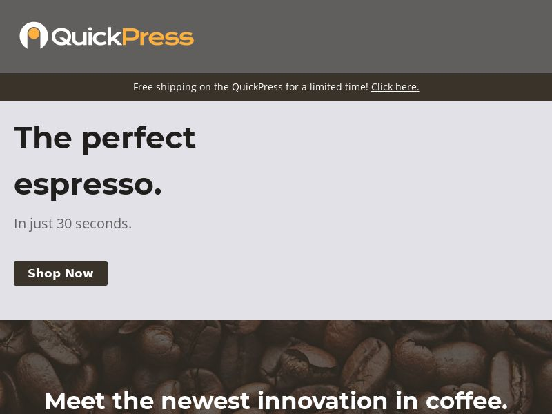 QuickPress Coffee [INTL] (Email,Social,Banner,Native,Push,SEO,Search) - Revshare