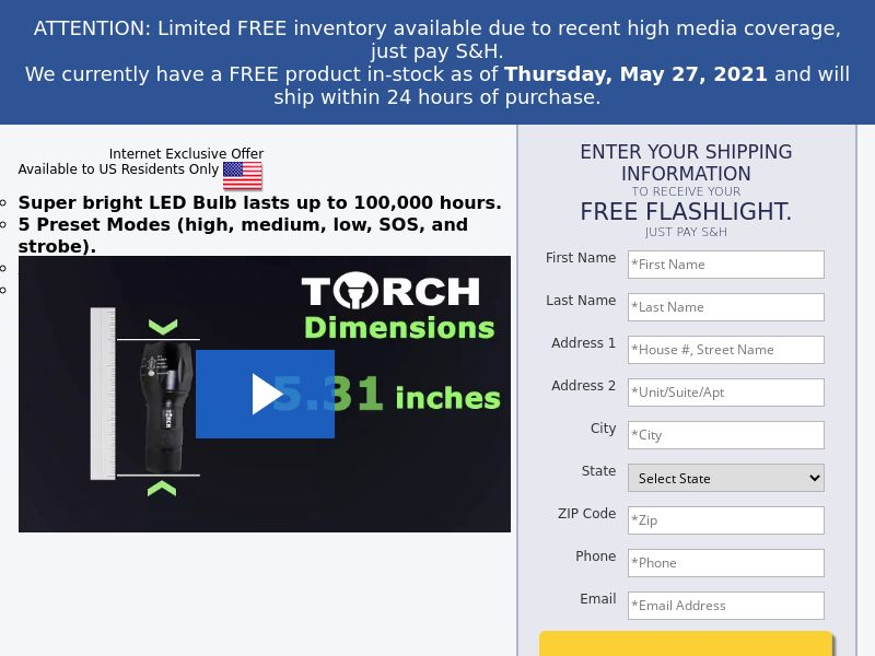 Free Torch Flashlight (Trial) (US) (Survey Allowed) (SMS ALLOWED)