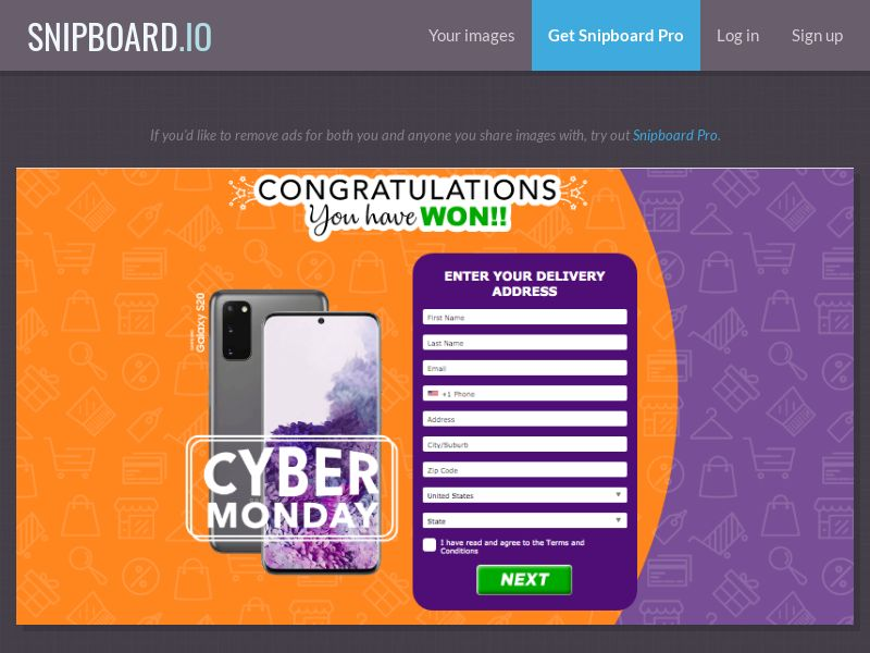 AbsoluteWinner - Samsung Galaxy S20 (Cyber Monday) US - CC Submit