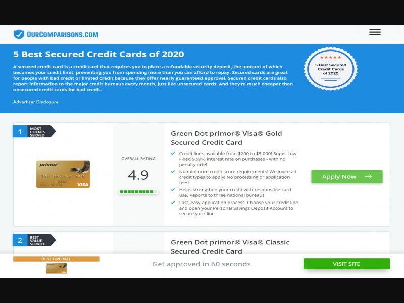 Our comparisons.com - 5 Best Secured Credit Cards - DOI - CPL