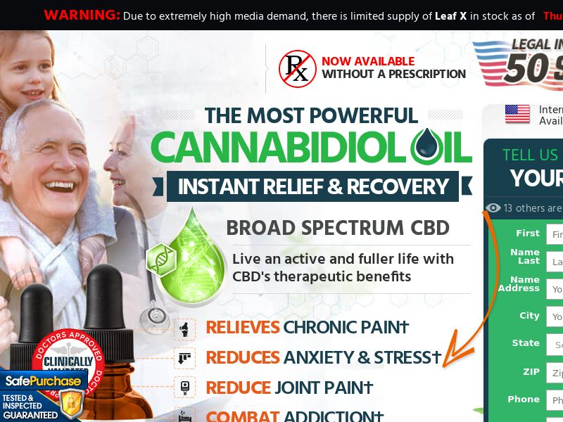 Upsell for Leaf X CBD (Trial W/1 Click Upsell) (Survey Allowed) (SMS Allowed)