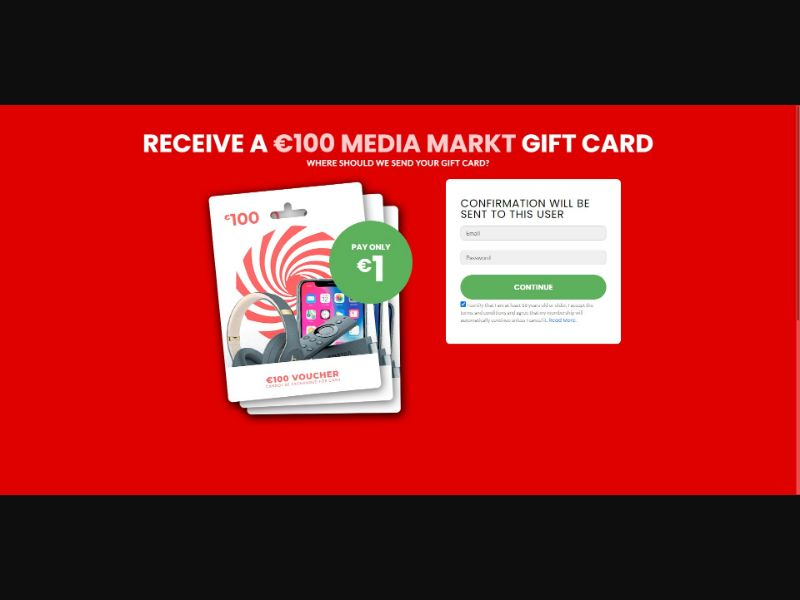 $100 Media Markt Gift Card - Sweepstakes & Surveys - Trial - [CL, AT, CZ]