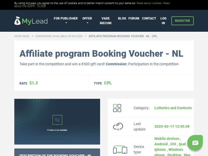 Booking Voucher - NL (NL), [CPL], Lotteries and Contests, Single Opt-In, paypal, survey, gift, gift card, free, amazon