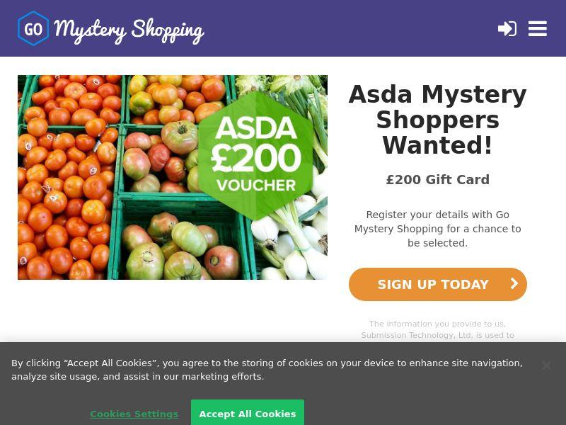 Go Mystery Shopper - Receive £200 to become an ASDA Mystery Shopper CPL [UK]