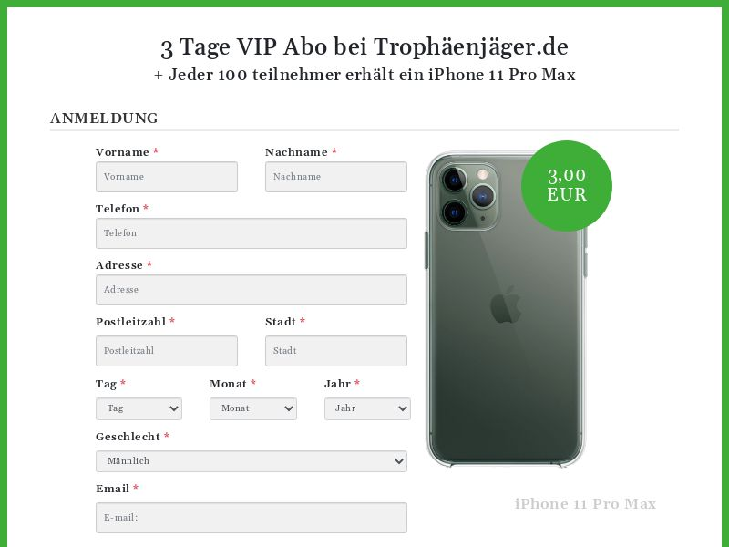 Membership Signup Page : iPhone 11 Pro Max - DE