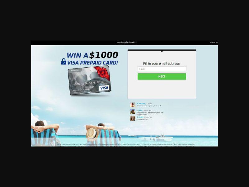 YOUSWEEPS - Win a $1000 Visa Prepaid Card