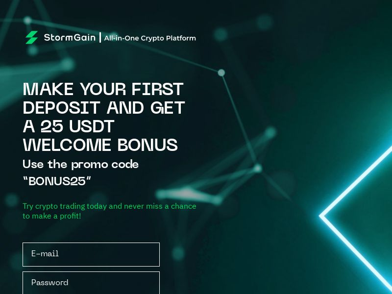 StormGain - 25$ Free Bonus (EU) (CPS)