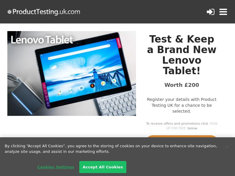 Product Testing - Test & Keep a Brand New Lenovo Tablet! [UK]