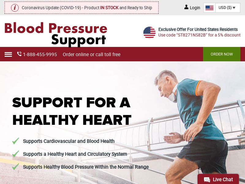 Blood Pressure Support | Natural Supplement With Hibiscus & Olive Leaf
