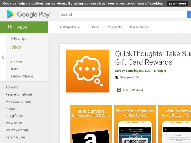 SE - QuickThoughts: Take Surveys Earn Gift Card Rewards- aOS6.0+ - INCENT *CPE <<*PENDING*PRIVATE OFFER*>>