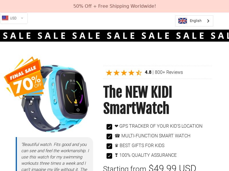 Kidi SmartWatch - GPS Tracker and Smart Watch For Kids - CPA - [INTERNATIONAL]