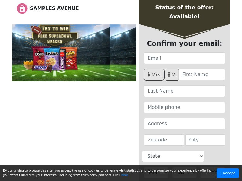 Samples Avenue - Superbowl Snacks (US) (CPL) (Personal Approval)