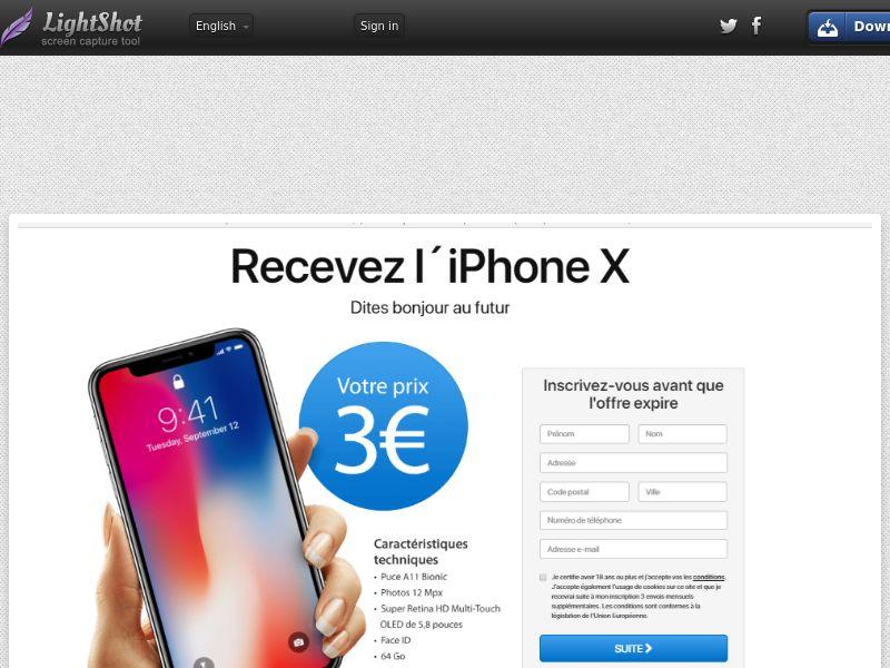 Recevez l´iPhone X 3€ - Trial - FR