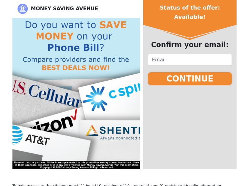 MoneySavingAvenue - Phone Bill - CPL - US [EXCLUSIVE]