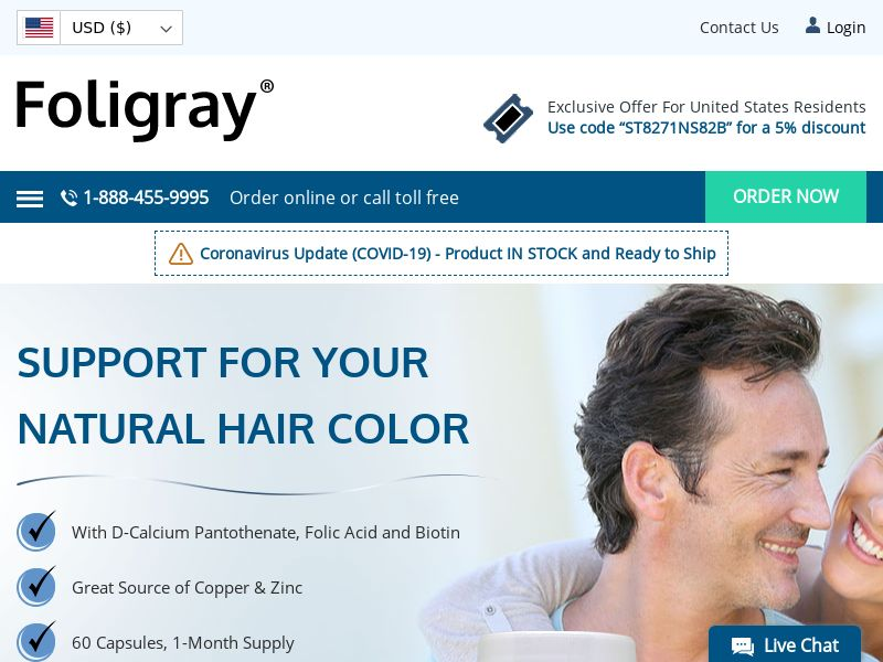 Foligray | Natural Gray Hair Color Support Supplement