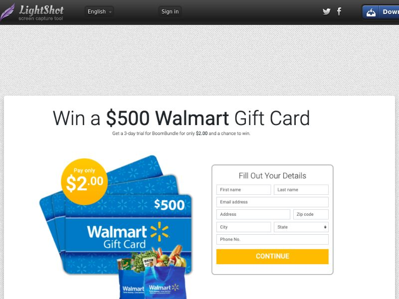 PrizeOffers - Win Walmart $500 Gift Card (CC Submit) - Sweepstakes/Gift Card - US * PENDING * Private Offer *