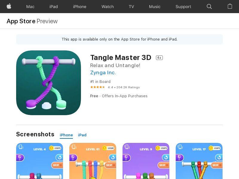 Tangle Master 3D US iOS