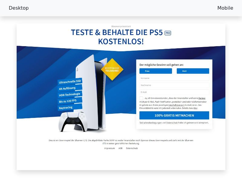 Try & Keep the PlayStation 5 FREE! - CPL, SOI - DE, AT, CH