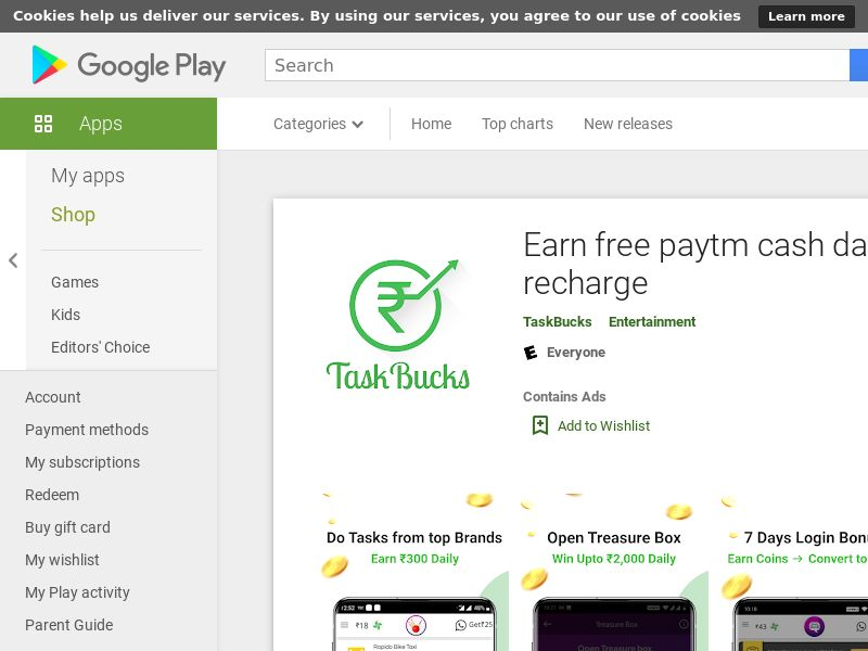 Taskbucks: Earn free paytm cash daily - Android (IN) (KPI) (GAID)