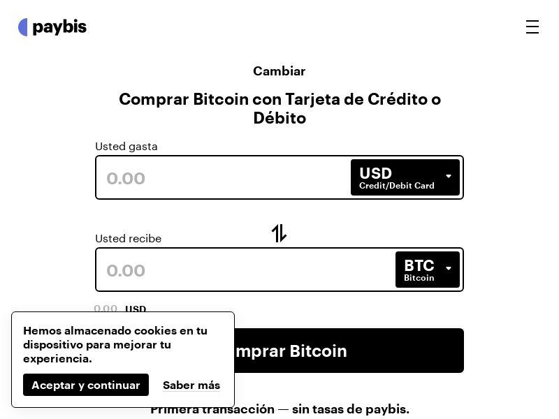 Paybis BTC exchange Spanish - 6 Countries