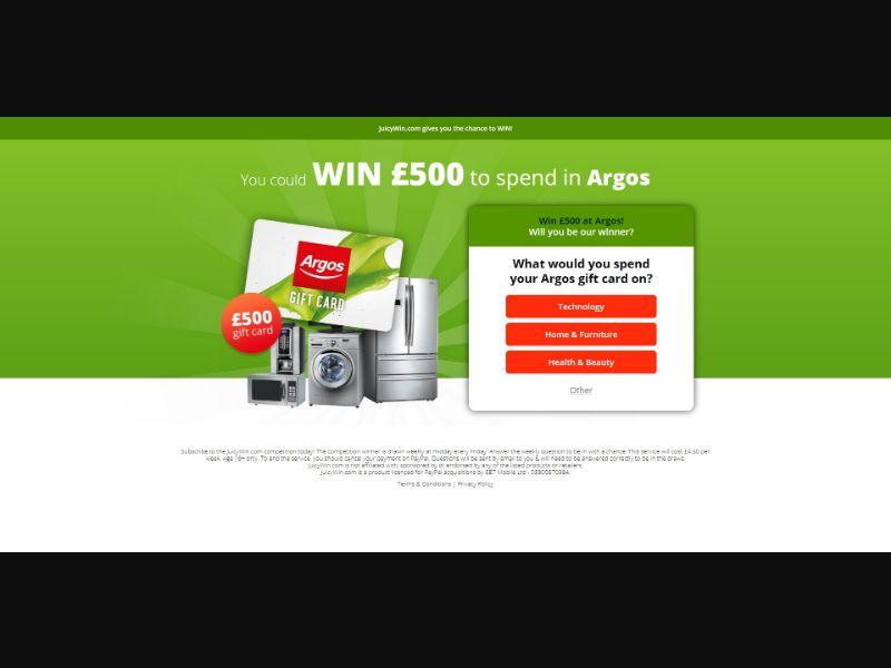Juicy Win Argos - Sweepstakes & Surveys - Trial - [UK]