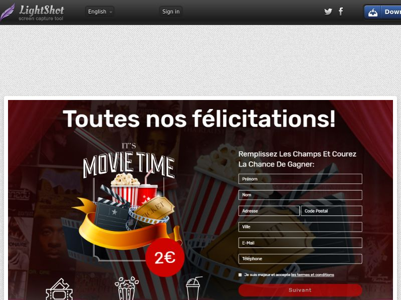 PremiumDeals Cinema Gift Card (Sweepstake) (CC Trial) - France
