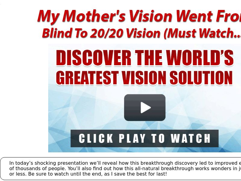 Eagle Eye 911 - Vision Solution [US,CA,UK,AU] (Email,Social,Native,Search,Push) - CPA {No Brand Bidding}