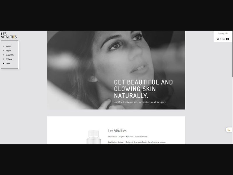 Les Vitalities - Skin Care - Trial - NO SEO - [FI] - with 1-Click Upsell [Step1 $34.00 / Upsell $32.30]