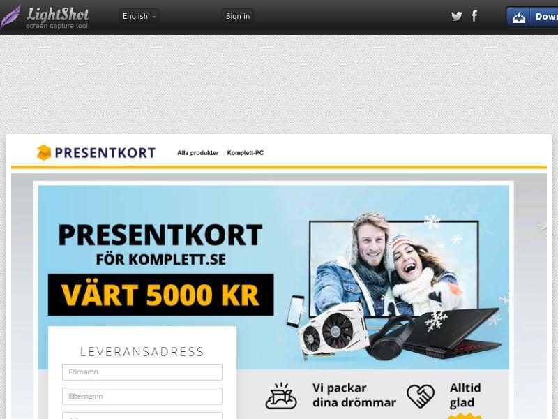 Komplett voucher (Sweepstake) (CC Trial) - Sweden [SE]