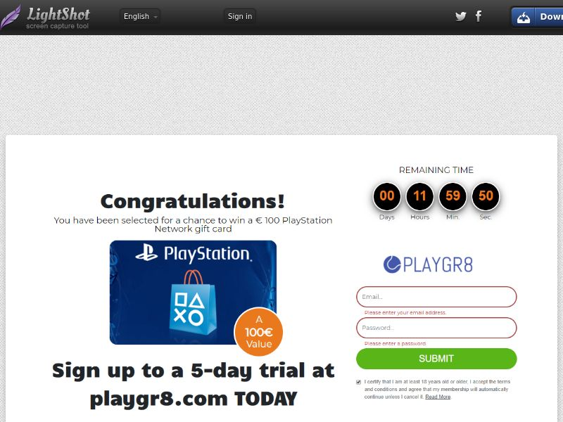 Sugar Beats PlayStation Network Gift Card (Sweepstake) (CC Trial) - Chile [CL]