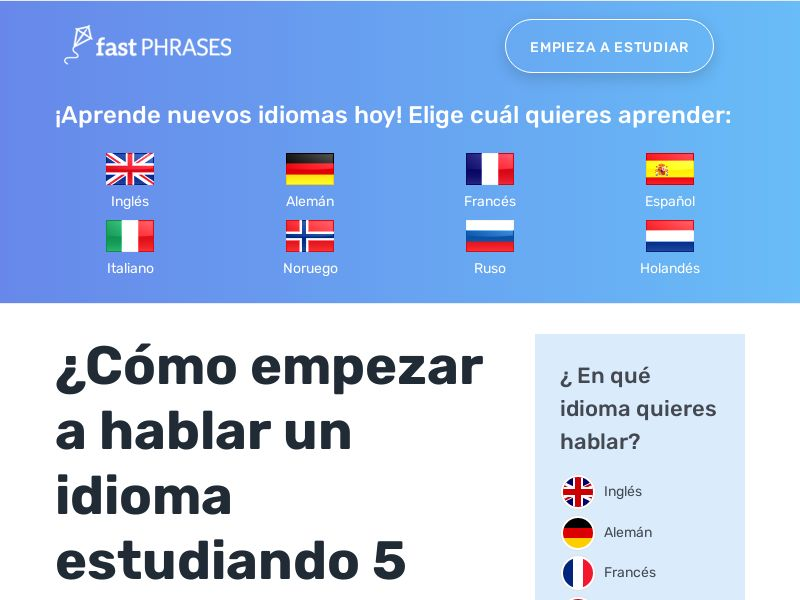 Fast Phrases - Learn New Languages - (English, Spanish, French, etc.) (RevShare 50% with Rebills) - Multi GEOs (AR CR CO CL EC BO DO GT HN MX PR PY PA UY US SV)