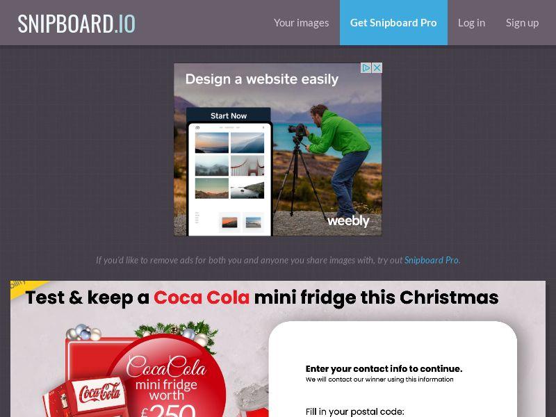 YouSweeps - Test a cola mini fridge christmas UK - SOI